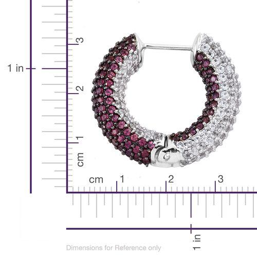 Designer Inspired - Reversible Rhodolite Garnet (Rnd), Natural Cambodian Zircon Hoop Earrings in Platinum Overlay Sterling Silver 10.00 Ct. Silver Wt 17.81 Gms