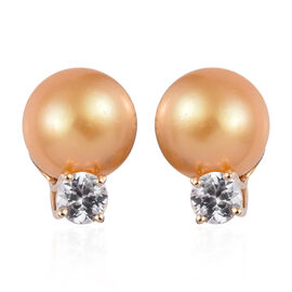 GP Golden South Sea Pearl and Multi Gemstone Stud Earring in 9K Gold