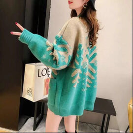 Kris Ana Wool & Cashmere Mix Christmas Cardigan One Size (8-16) - Green
