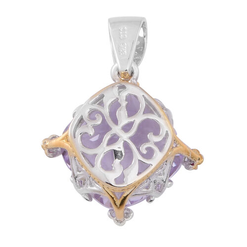 Designer Inspired- Checkerboard Cut Rose De France Amethyst (Cush), Burmese Ruby Pendant in Rhodium and Yellow Gold Overlay Sterling Silver 12.500 Ct.