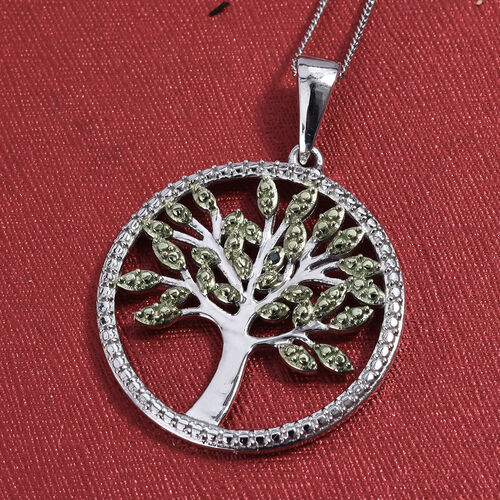 Green Diamond (Rnd) Tree of Life Pendant with Chain (Size 18) in Platinum and Green Overlay Sterling Silver