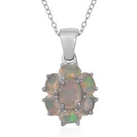1.35 Ct Ethiopian Opal Floral Pendant with Chain in Sterling Silver 2.9 Grams