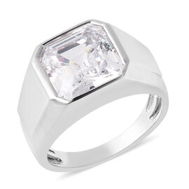 J Francis Rhodium Overlay Sterling Silver Ring Made with Asscher Cut SWAROVSKI ZIRCONIA 8.00 Ct, Sil