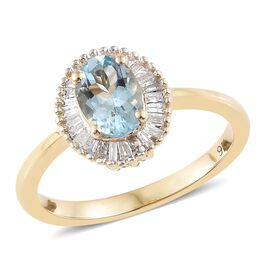 9K Yellow Gold AA Santa Maria Aquamarine (Ovl) Ring 0.850 Ct