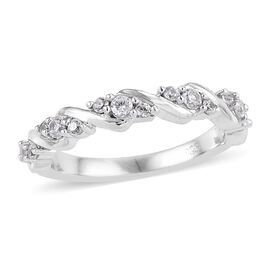 Natural Cambodian Zircon (Rnd) Ring in Platinum Overlay Sterling Silver 0.500 Ct.
