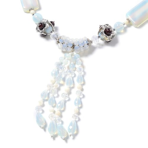 Opalite, Indian Garnet, Simulated Diamond, White Shell, Simulated Grey Moonstone and Multi Colour Beads Necklace (Size 24 with 2.50 inch Extender) in Silver Plated