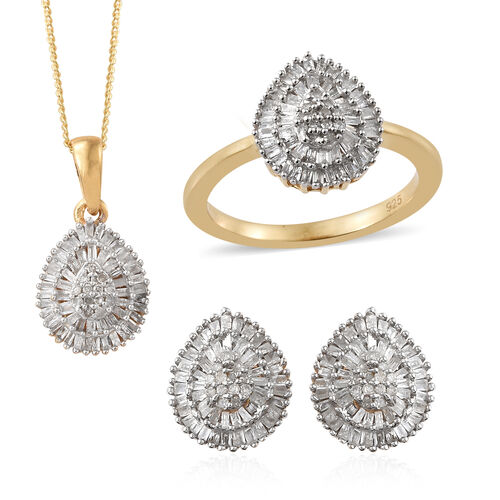 Diamond 14K Gold Overlay 14K Gold Overlay Sterling Silver 3 Pcs Ring, Earring and Pendant With Chain Set  1.150  Ct.