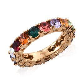 J Francis Crystal from Swarovski Multi Crystal (Rnd) Full Eternity Band Ring in 18K Yellow Gold Plat
