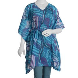 100% Cotton Blue Colour Abstract Pattern Poncho (Size 100x90 Cm)