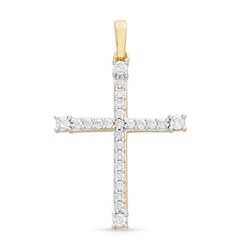 9K Yellow Gold SGL Certified (I3/G-H) Diamond (Rnd) Cross Pendant 0.330  Ct.
