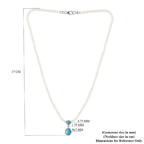 Arizona Sleeping Beauty Turquoise Freshwater Pearl,  and Natural Cambodian Zircon Necklace (Size 18) in Platinum Overlay Sterling Silver