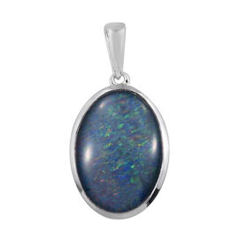 Boulder Opal Solitaire Pendant in Platinum Plated Sterling Silver