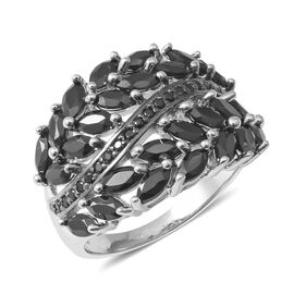 Boi Ploi Black Spinel (Mrq and Rnd) Ring in Rhodium Overlay With Black Plating Sterling Silver 5.480