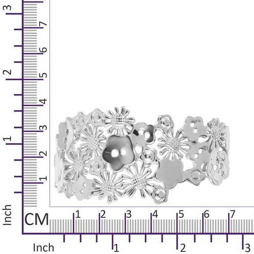 LucyQ Floral Bangle (Size 7) with Hinge in Rhodium Plated Sterling Silver 52.34 Gms.