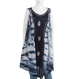 Sequin Embellished Tie-Dye Umbrella Dress with Two Side Pockets(One Size; L=105 Cm) - Navy Blue