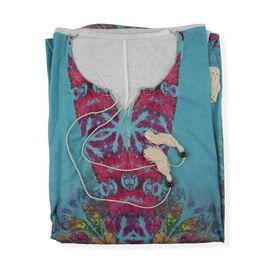 Multi Colour Floral Pattern Poncho (Size 83.8x89 Cm)