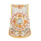 White Marble Embellished Mobile Stand Cum Table Clock - Yellow & Green