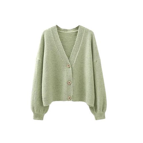 Kris Ana V Neck Wool Cardigan One Size (8-16) - Pistachio