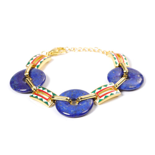 Lapis Lazuli  Donut Shape Linked Bracelet (Size 7 with 1 inch Extender) in Stainless Steel