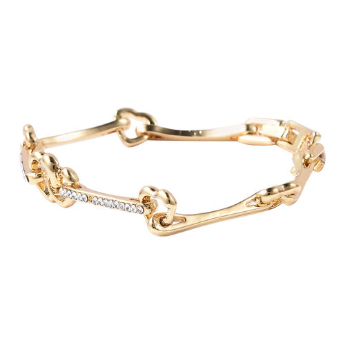 White Austrian Crystal Heart Link Bracelet (Size 7) in Yellow Gold Tone