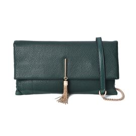 100% Genuine Leather Crossbody Bag with Detachable Shoulder Strap (Size 29.5x3x16 Cm) - Green
