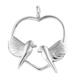 Platinum Overlay Sterling Silver Love Birds in Heart Pendant, Silver wt 4.60 Gms.