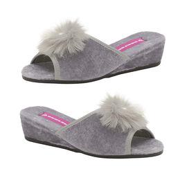Dunlop Marilyn Boa Wedge Slipper Mules in Grey Colour
