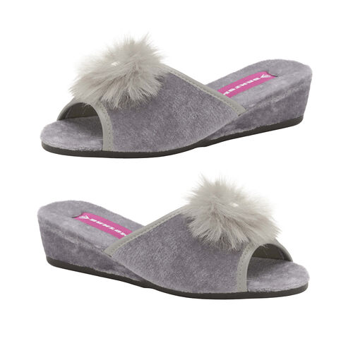 Dunlop Marilyn Boa Wedge Slipper Mules (Size 8) - Grey