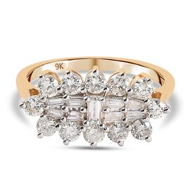 9K Yellow Gold SGL Certified Natural Diamond (I3/G-H) Boat Ring 1.00 Ct.