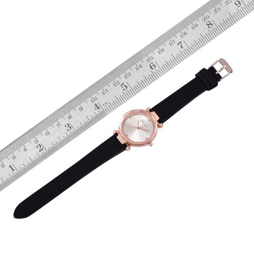 GENOA Diamond Studded Silver Sunshine Dial Watch with Black Colour Strap