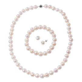 3 Piece Set - Freshwater White Pearl Necklace (Size 20), Bracelet (Size 6.50) and Stud Earrings (wit
