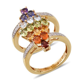 2.17 Ct Multi Gemstones Cluster Ring in Sterling Silver 8.6 Grams