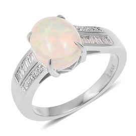 ILIANA 18K White Gold Ethiopian Welo Opal (Ovl 1.750 Ct) Diamond Ring 1.880 Ct, Gold wt 5.04 Gms