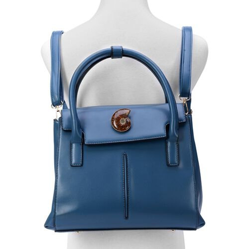 Mermaid Blue Multi-function Ammonite Bag with Adjustable and Removable Shoulder Strap (Size 30x23x9