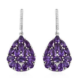 Amethyst (Ovl and Pear), Natural Cambodian Zircon Drop Earrings (with Push back) in Platinum Overlay Sterling Silver 5.750 Ct. Silver wt 5.36 Gms.
