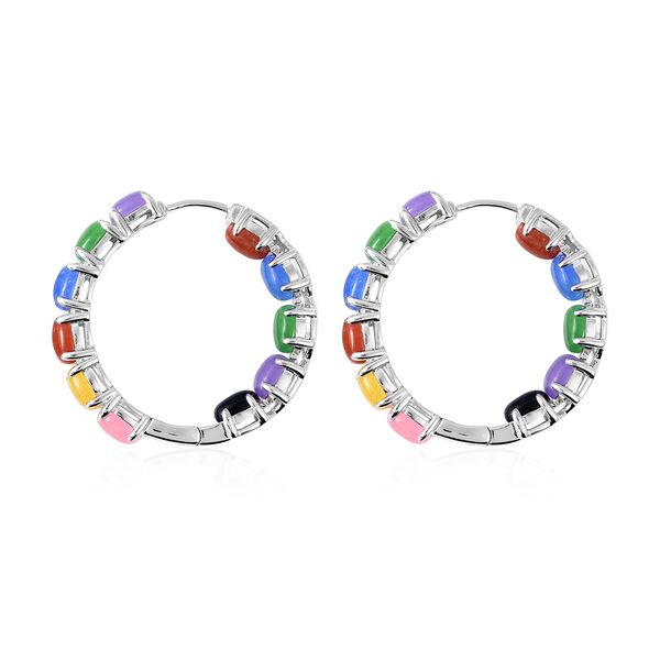 Multi Colour Jade Hoop Earrings (with Clasp) in Rhodium Overlay Sterling Silver 13.60 Ct, Silver wt 8.72 Gms