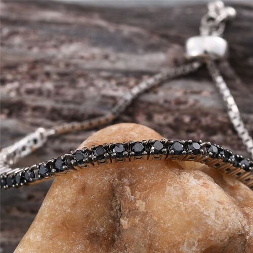 Black Diamond (Rnd) Adjustable Bracelet (Size 6.5 to 9) in Platinum Overlay Sterling Silver 2.170 Ct.