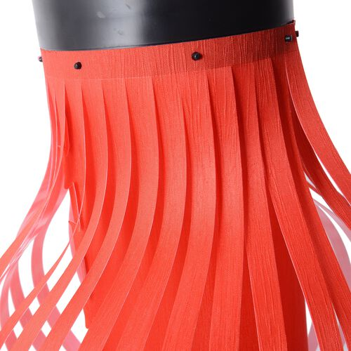 Red with Red Fringer DIY Lampshade (Size 12.3x28 Cm)