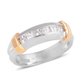 ILIANA 18K White & Yellow Gold 0.55 Ct Diamond Half Eternity Band Ring SGL Certified SI GH.