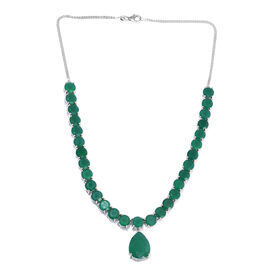 64.01 Ct Verde Onyx Statement Necklace in Platinum Plated Sterling Silver