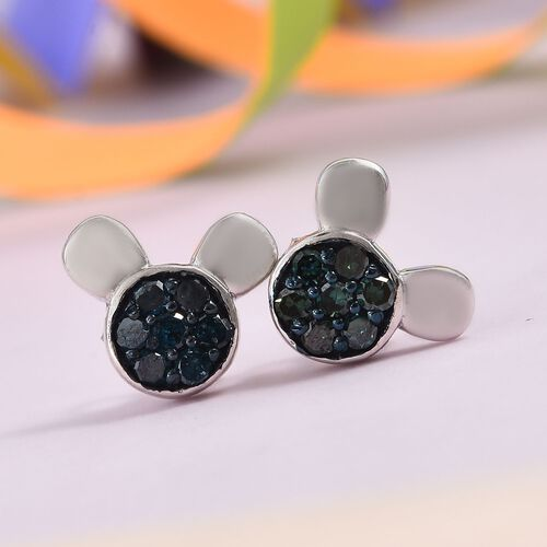 0.33 Ct Blue Diamond Cartoon Face Cluster Stud Earrings in Sterling Silver with Push Back