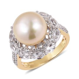 South Sea Golden Pearl (Rnd 11.5-12 mm), White Topaz Ring in Gold and Rhodium Overlay Sterling Silve