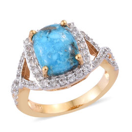 Persian Turquoise (Cush 10x8 mm), Natural Cambodian Zircon Ring (Size P) in 14K Gold Overlay Sterling Silver