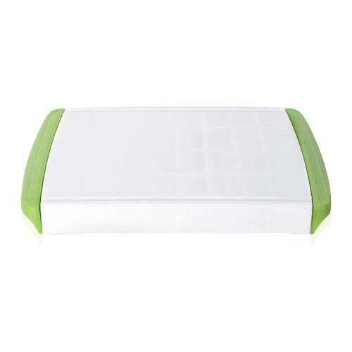 Chop and Clear Cutting Board with Removable Drawer (Size 60x25x3.3 Cm) Green and White Clour