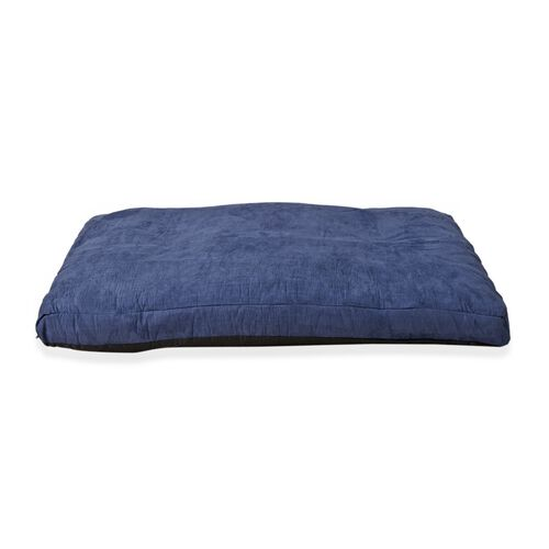 Dark Blue Colour Faux Suede Dog Bed with Shredded Memory Foam Filling (Size 100x66 cm)