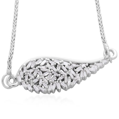 Designer Inspired - Firecracker Diamond (Bgt) Angel Wing Bracelet (Size 9) in Platinum Overlay Sterling Silver 0.250 Ct.
