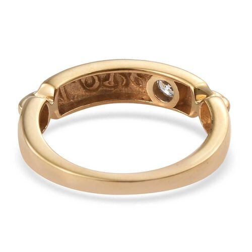 J Francis - 14K Gold Overlay Sterling Silver (Rnd) Love Band Ring Made with SWAROVSKI ZIRCONIA