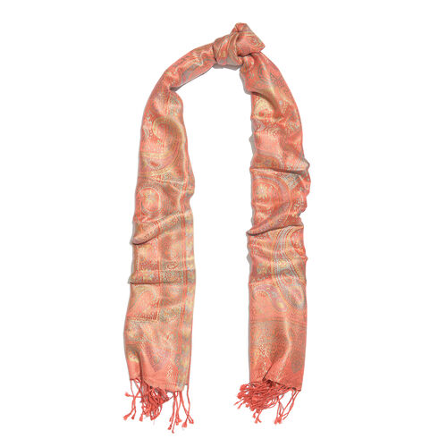 SILK MARK - 100% Superfine Silk Pink, Light Blue and Multi Colour Paisley and Flower Pattern Jacquard Jamawar Scarf with Tassels (Size 180x70 Cm) (Weight 125 - 140 Gms)