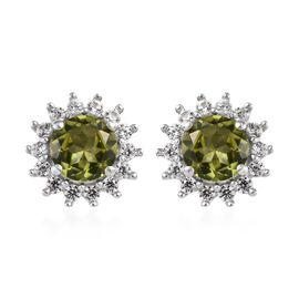 Hebei Peridot (Rnd), Natural Cambodian Zircon Earrings (with Push Back) in Platinum Overlay Sterling