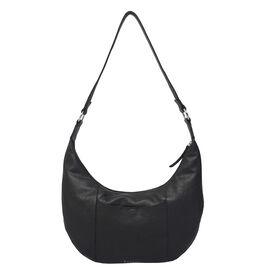 ASSOTS LONDON Luna Genuine Pebble Grain Leather Hobo Shoulder Bag - Black